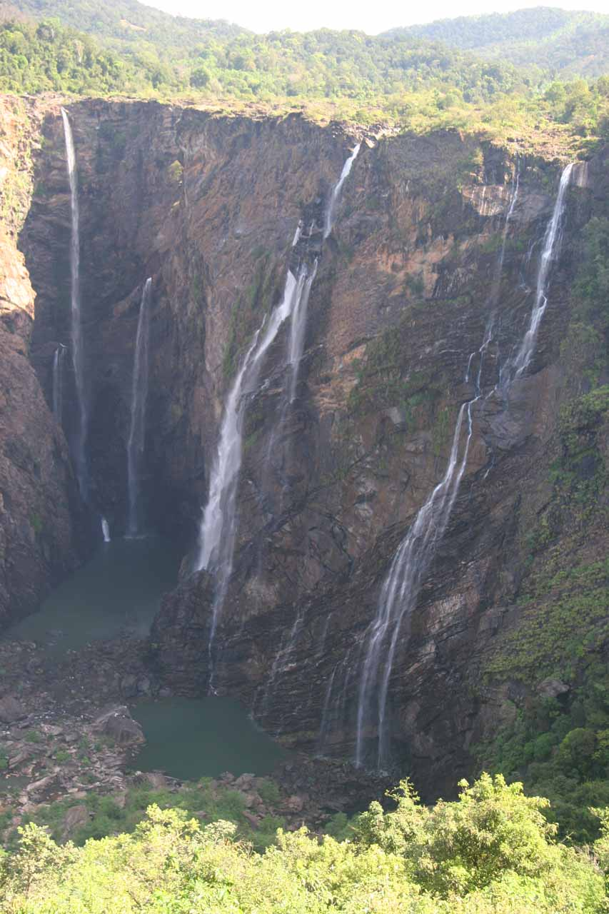 Looking directly at the four main segments of Jog Falls