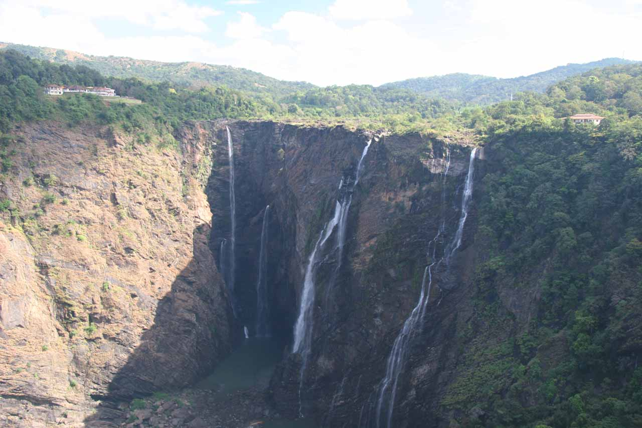 Another direct look into the four waterfalls making up Jog Falls against the sun