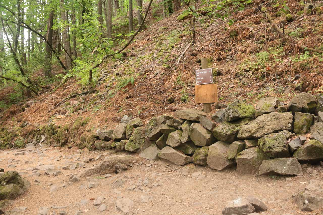 The signed trail junction where going left went to Elowah Falls and going right went to Upper McCord Creek Falls