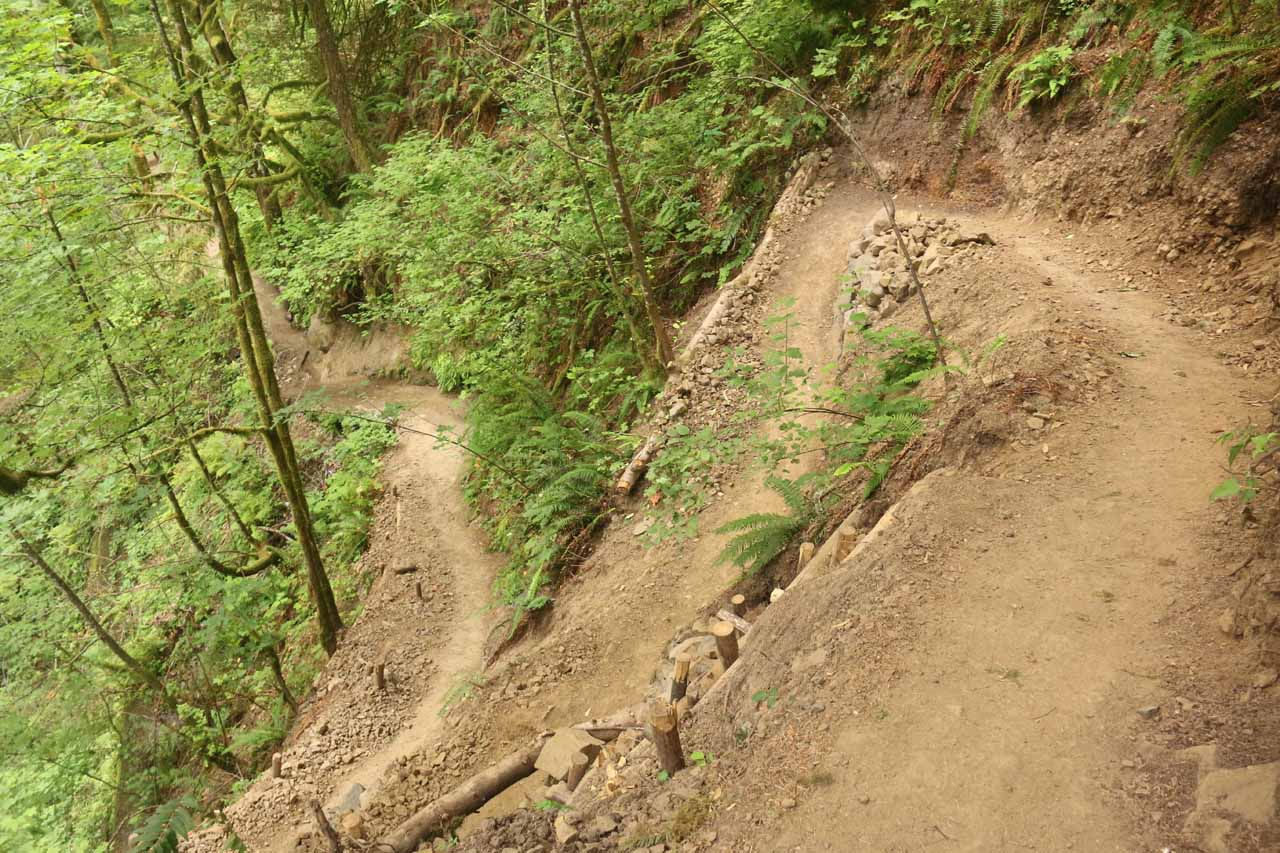 During my August 2017 hike, the trail was re-routed to my right (instead of left), which descended these tightly wound switchbacks though it appeared that the hill was eroded here as well