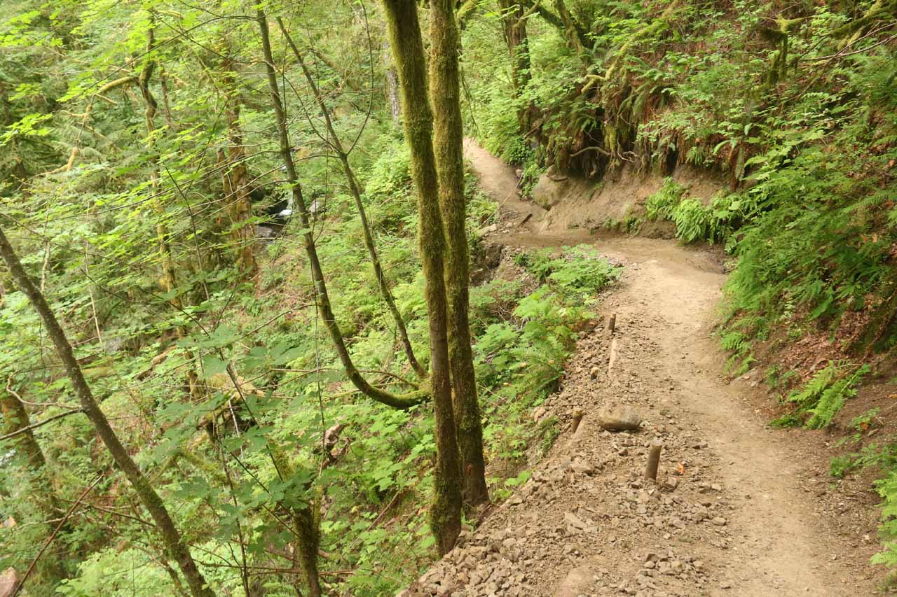The trail now followed this narrow ledge along McCord Creek