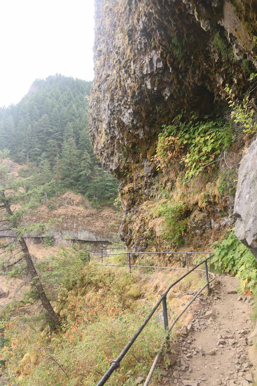 Some parts of the cliff-hugging part of the trail actually had overhanging sections
