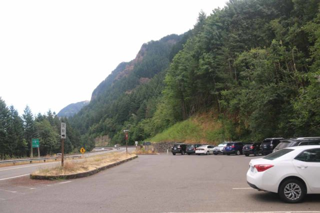 John_B_Yeon_SP_143_08172017 - Looking to the east at the parking lot for John B Yeon State Scenic Corridor with the on-ramp going back onto the I-84 east