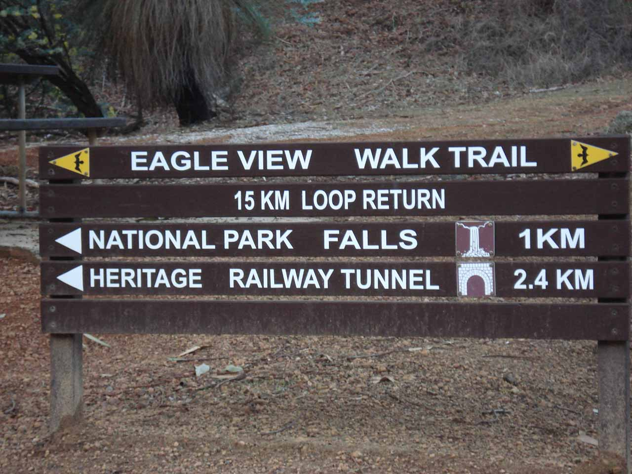 Sign near the Glen Brook Dam car park where going left would lead us to National Park Falls while going right would lead us to Hovea Falls
