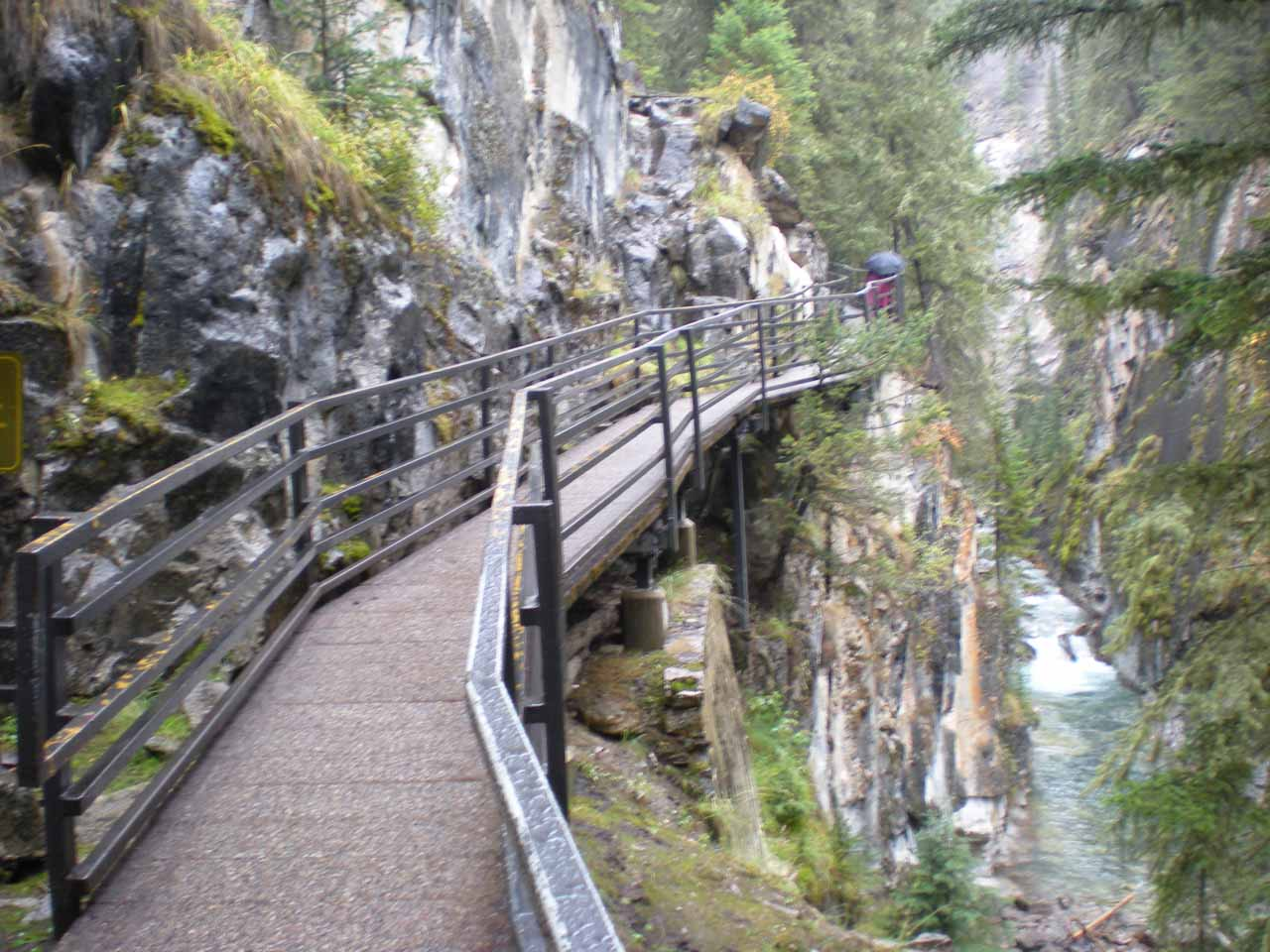 The catwalk was often perched high above the base of the gorge