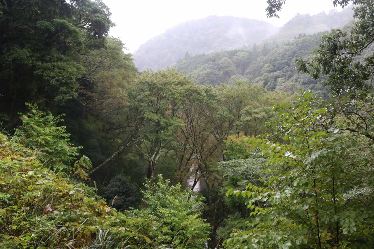 Partial view looking down at the Joren Waterfall from near the start of the walking path