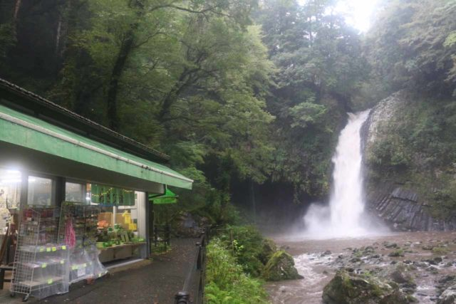 Joren_Falls_048_10162016 - Context of the Joren Falls with some neighboring shops and cafes, including one that apparently served locally grown wasabi