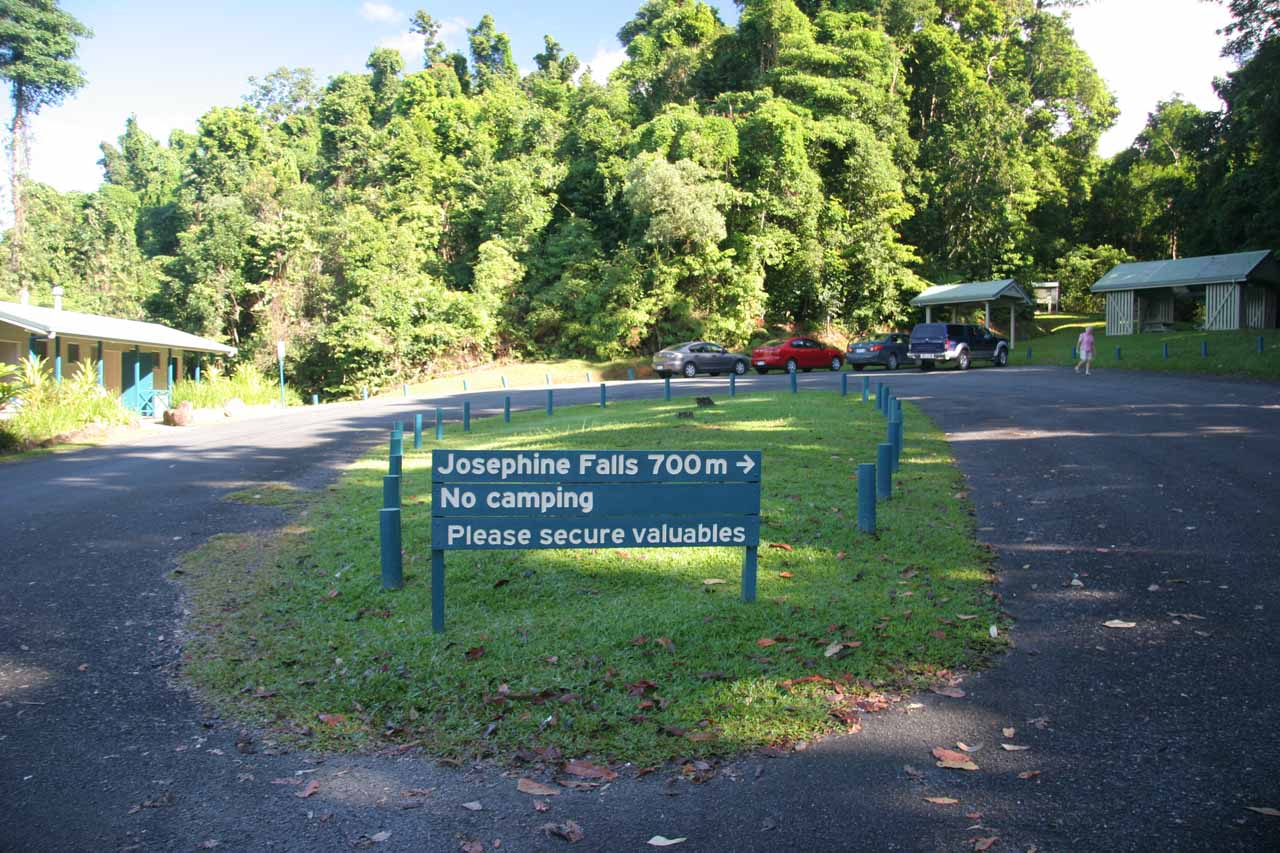 The car park for Josephine Falls