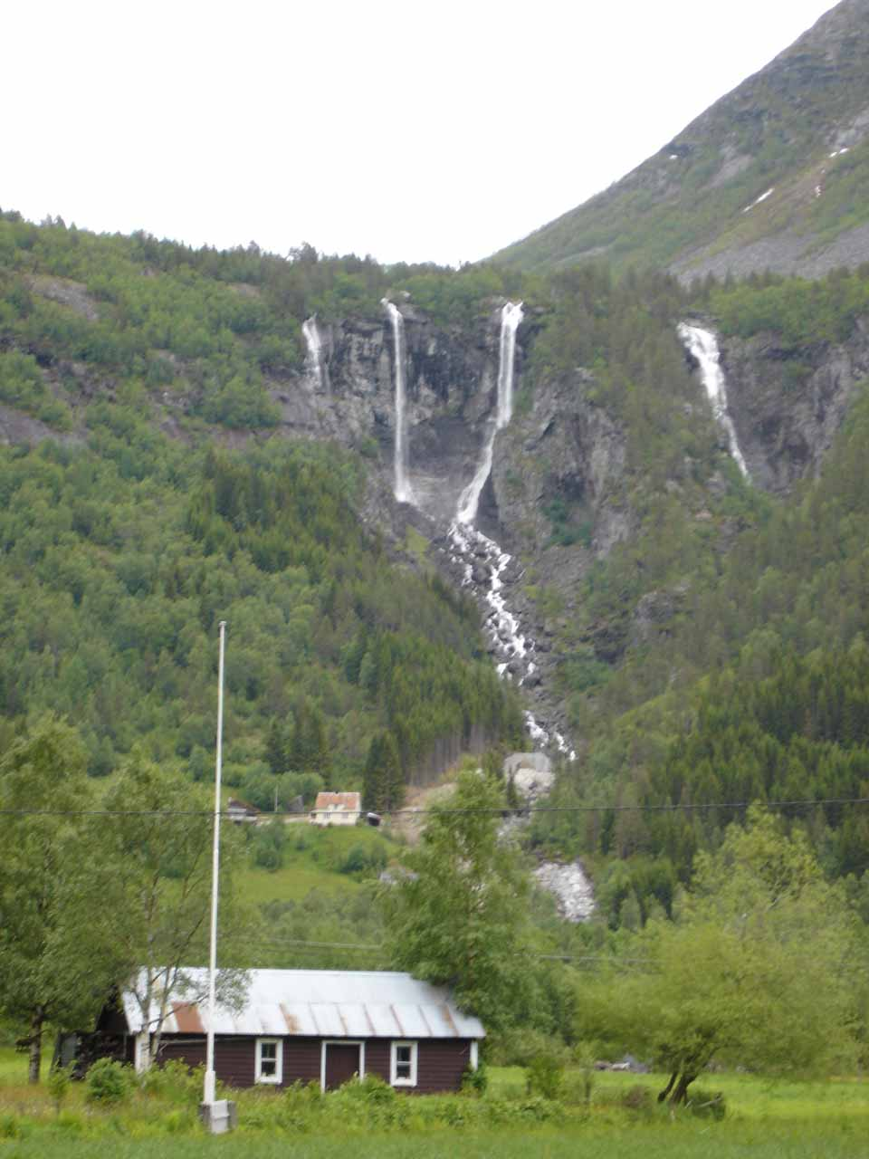 After visiting the Nigard Glacier, we spent the remainder of the late evening daylight waterfalling Jostedalen Valley starting with Geisfossen