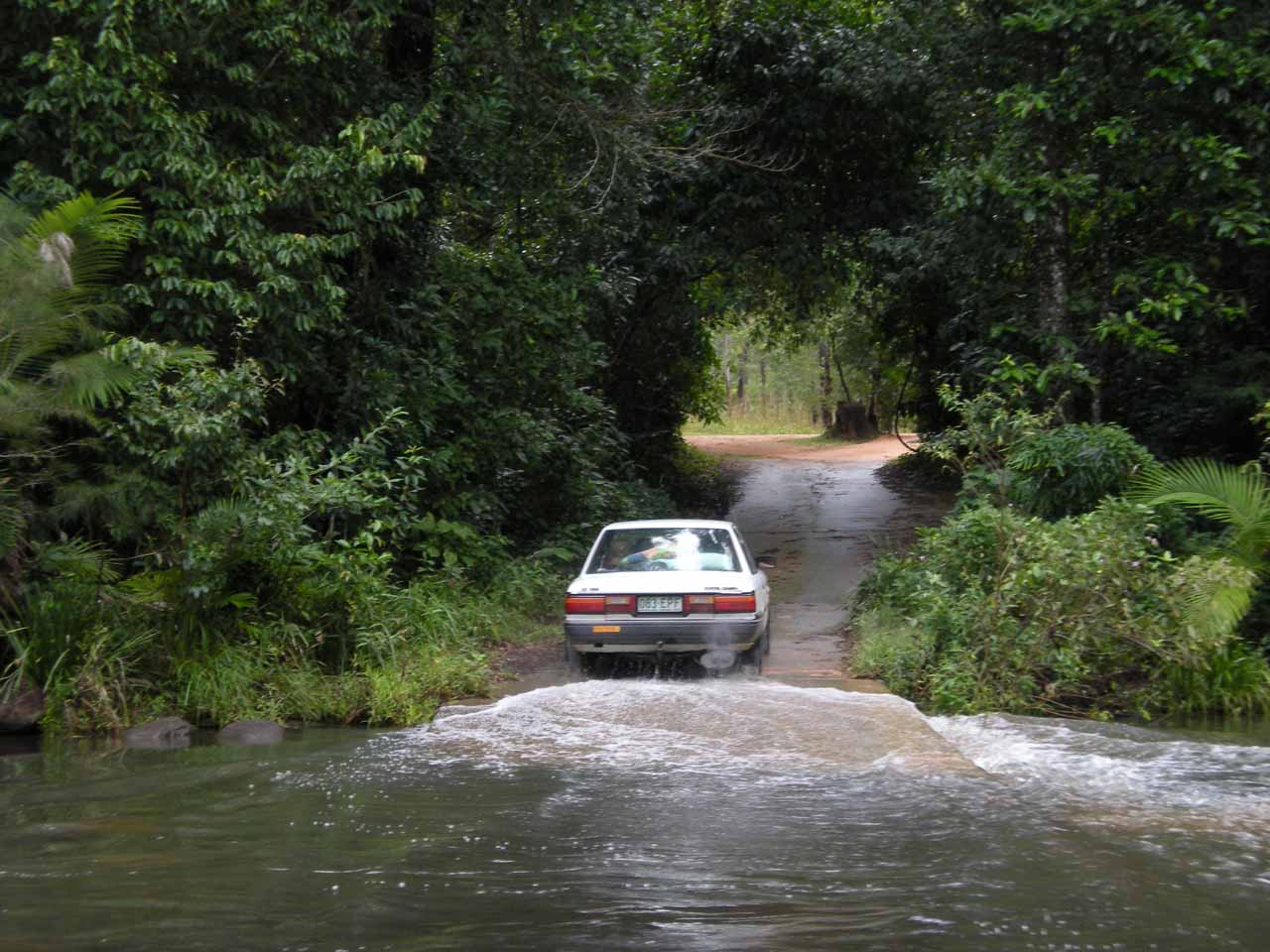 If that car can cross Waterview Creek, so can we, right?