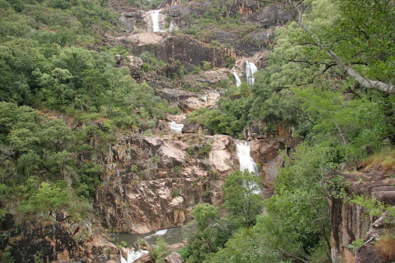 Landscape view of Jourama Falls and its series of waterfalls from the lookout at the end of the track