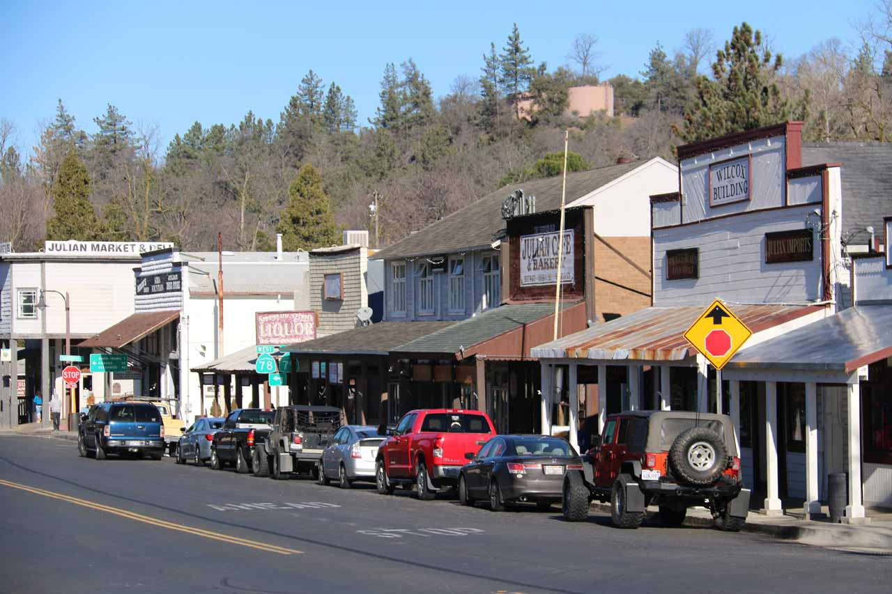 The quaint town of Julian was where we stayed prior to witnessing Mildred Falls on the way to Cedar Creek Falls