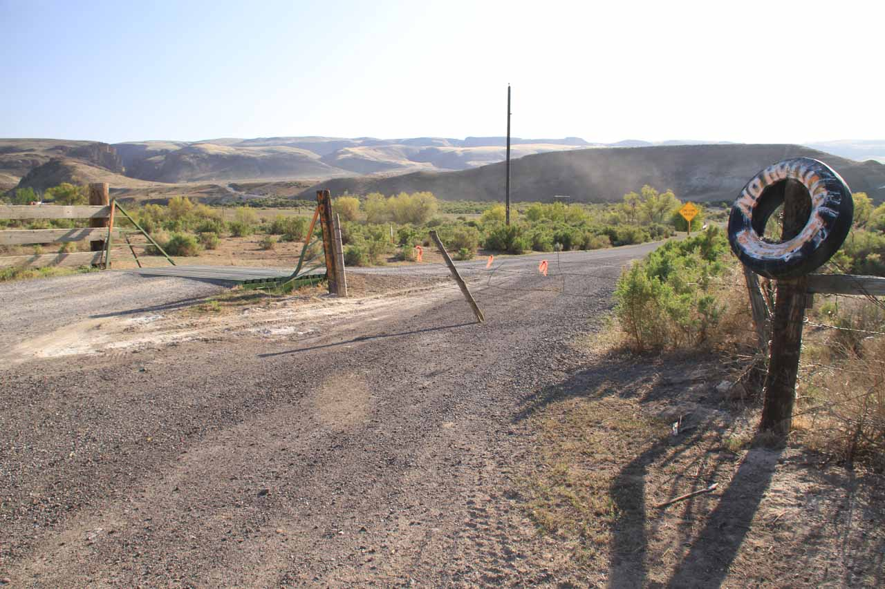 The next important landmark was a fork at the end of the paved part of Jump Creek Road where this cattle guard and subsequent single-lane bridge (note the yellow diamond sign in the photo) marked where we were supposed to proceed next