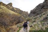 Jump_Creek_Falls_008_04032021 - The crew hiking into Jump Creek Canyon