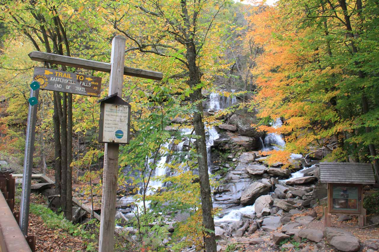 The actual trailhead for Kaaterskill Falls by the apparently illegal parking area