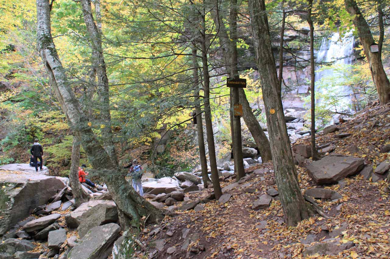 The end of the official trail for Kaaterskill Falls