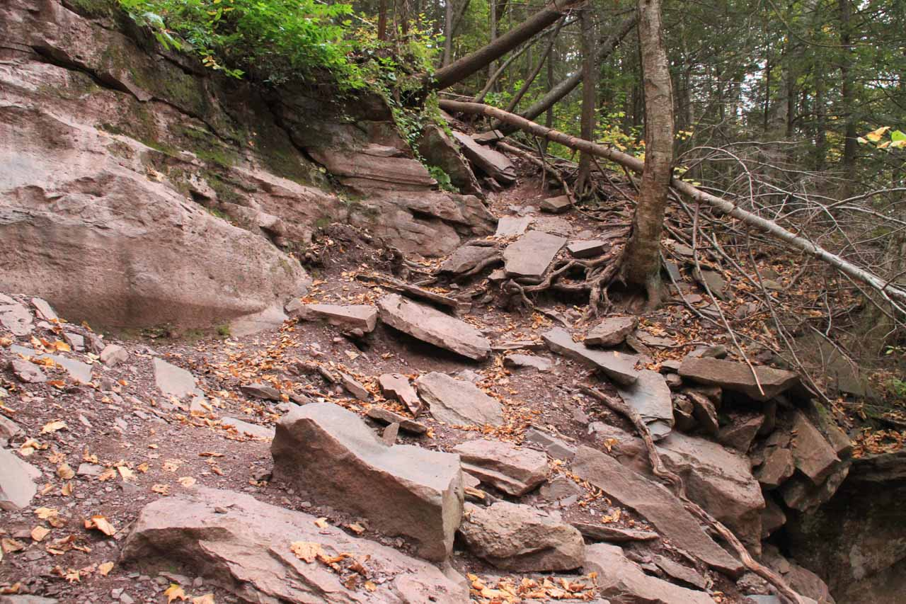 The steep climb up to the top of the lower tier of Kaaterskill Falls, which looked steep, but fairly benign to this point