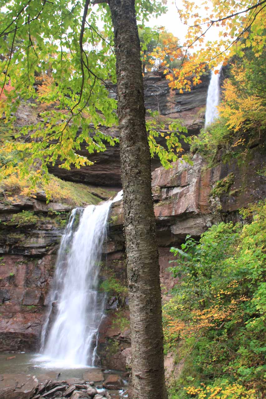 Partial angled view of Kaaterskill Falls as I was scrambling back down to the official trail
