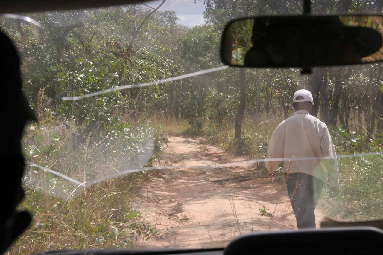 Joseph being a trooper and guiding Chester through the really rugged 4wd track on the way to Kabwelume Falls