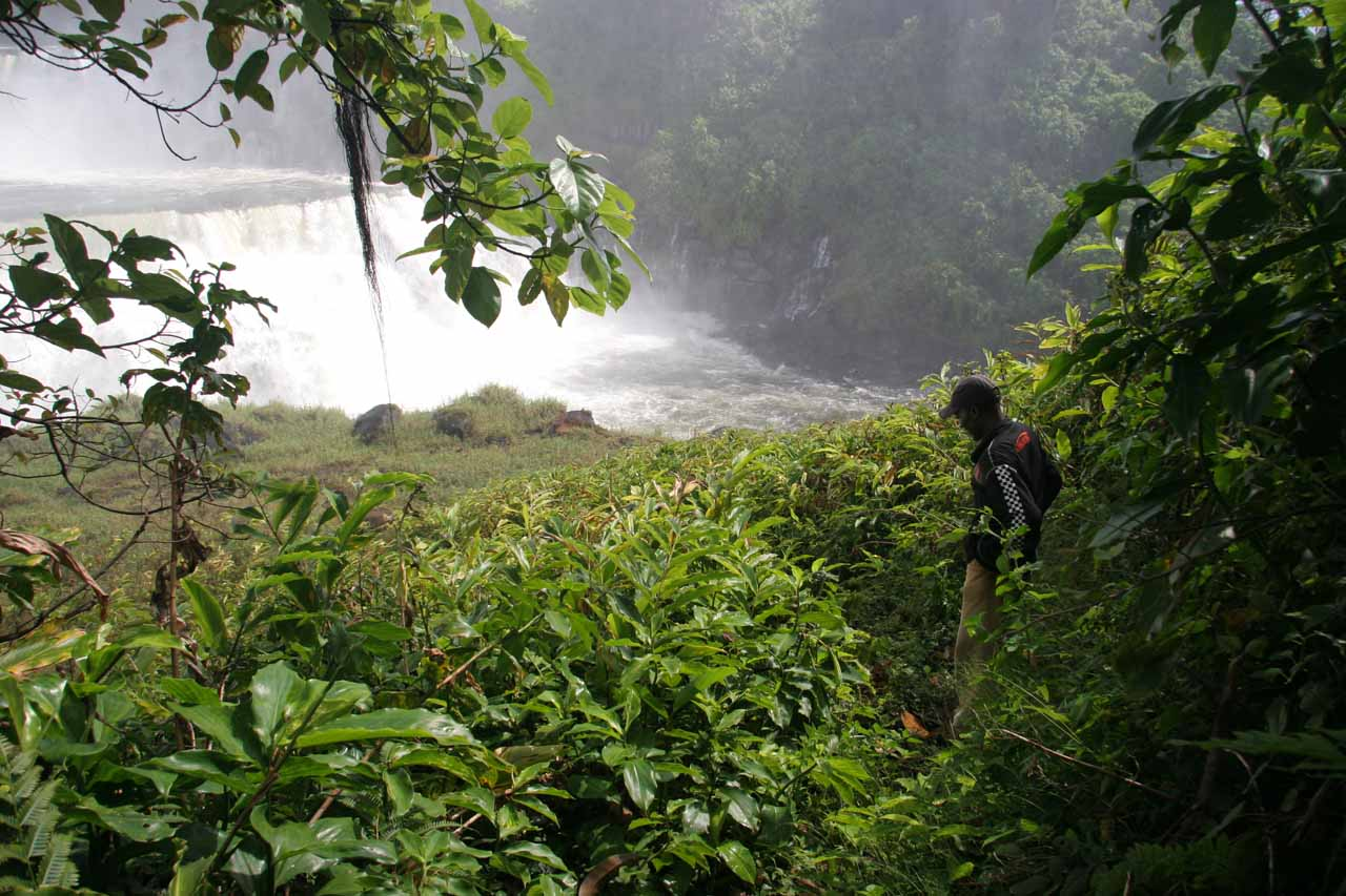 Chanda trying to get closer to the falls
