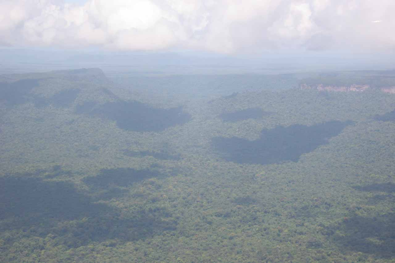 Looking down at the roadless rainforest wilderness