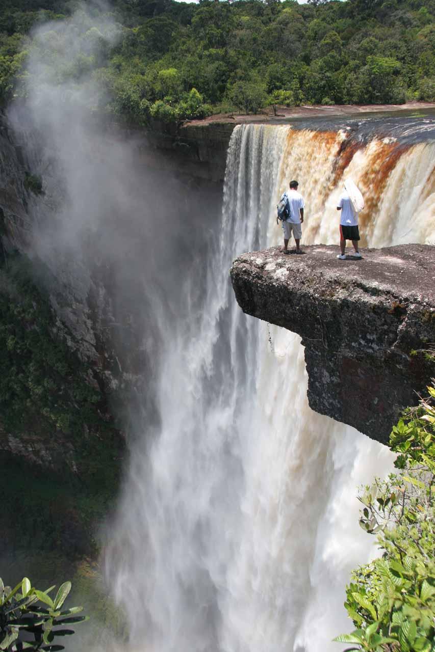 An overhanging rock near the brink of Kaieteur Falls