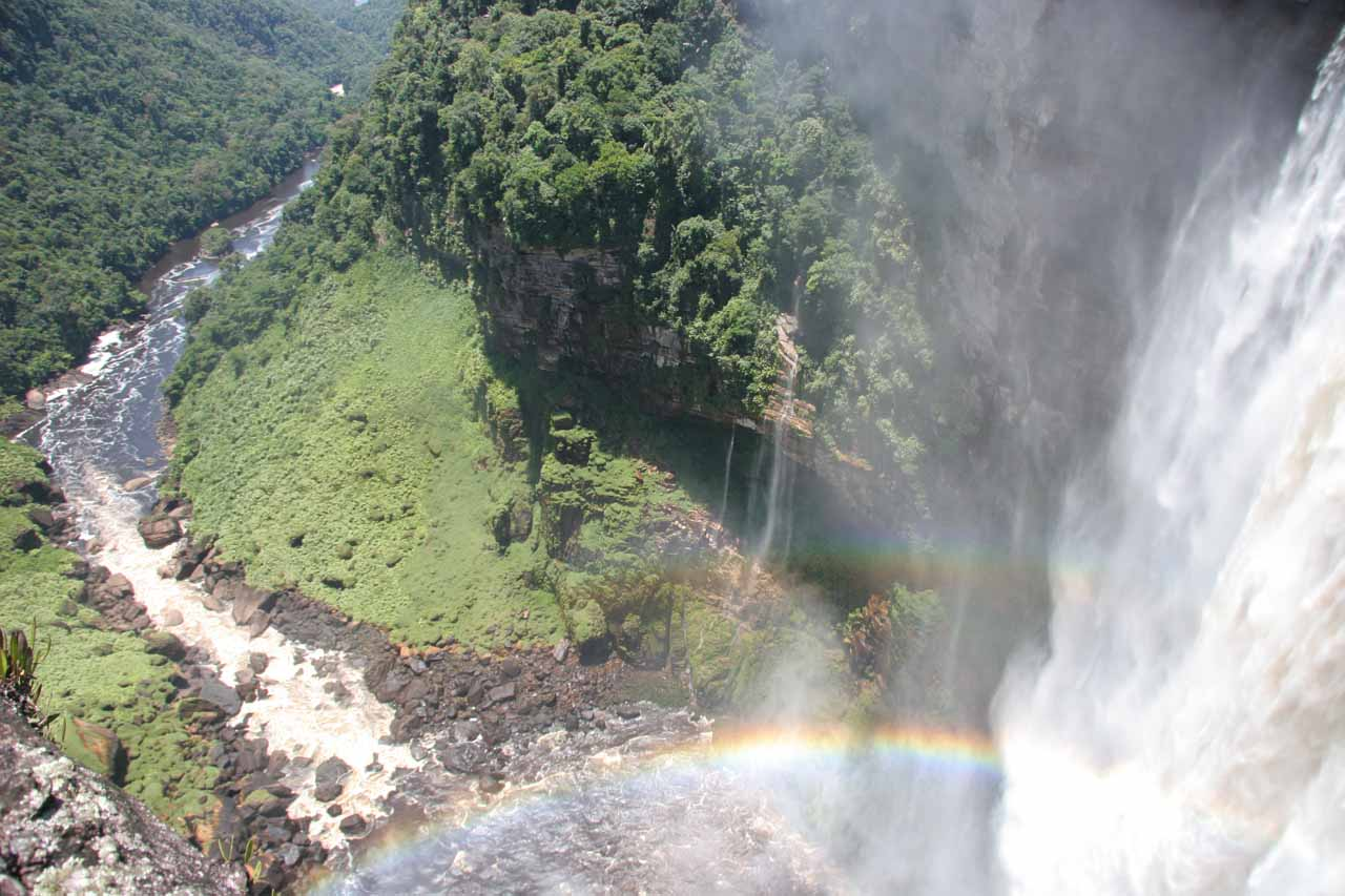The view over the lip of the protruding table rock towards the base of Kaieteur Falls and the continuation of the Potaro River beyond