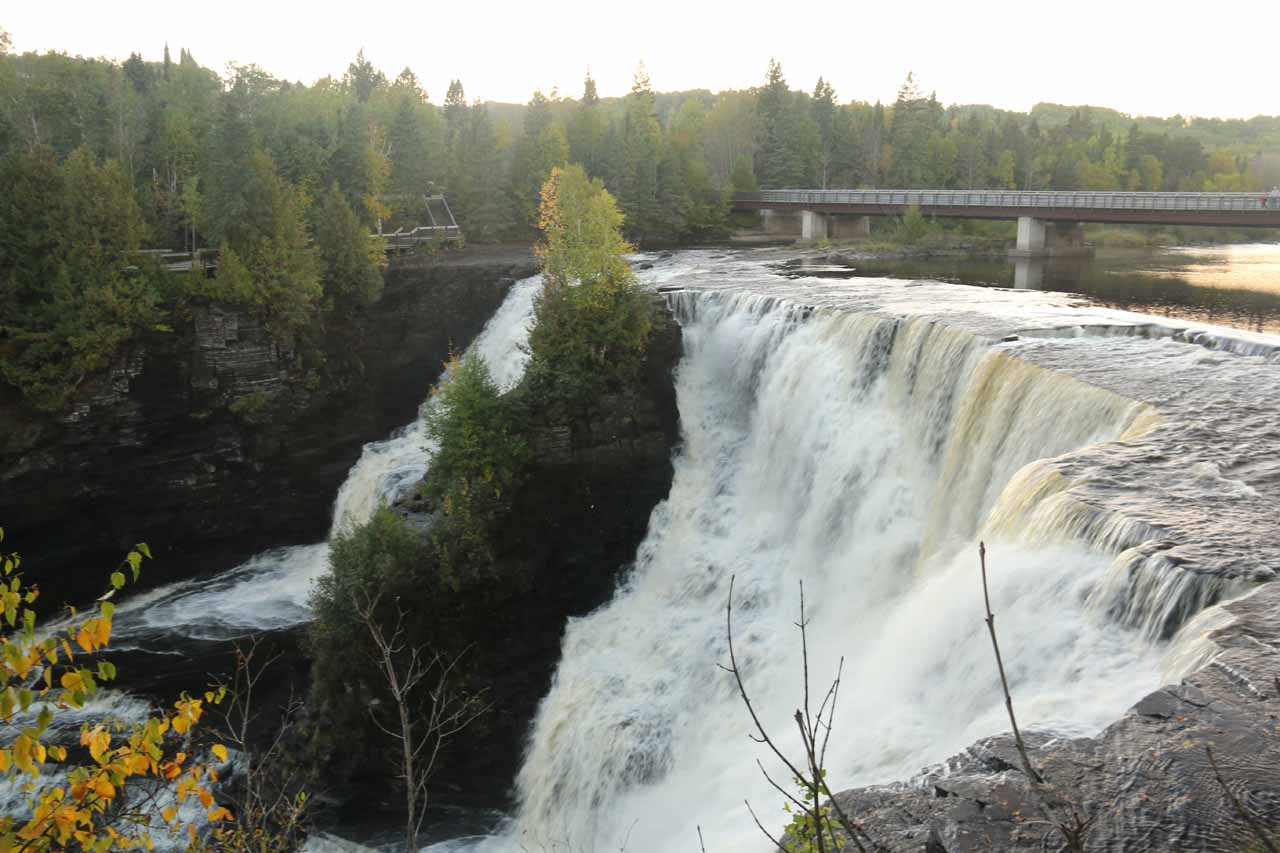 Angled look at the impressive Kakabeka Falls