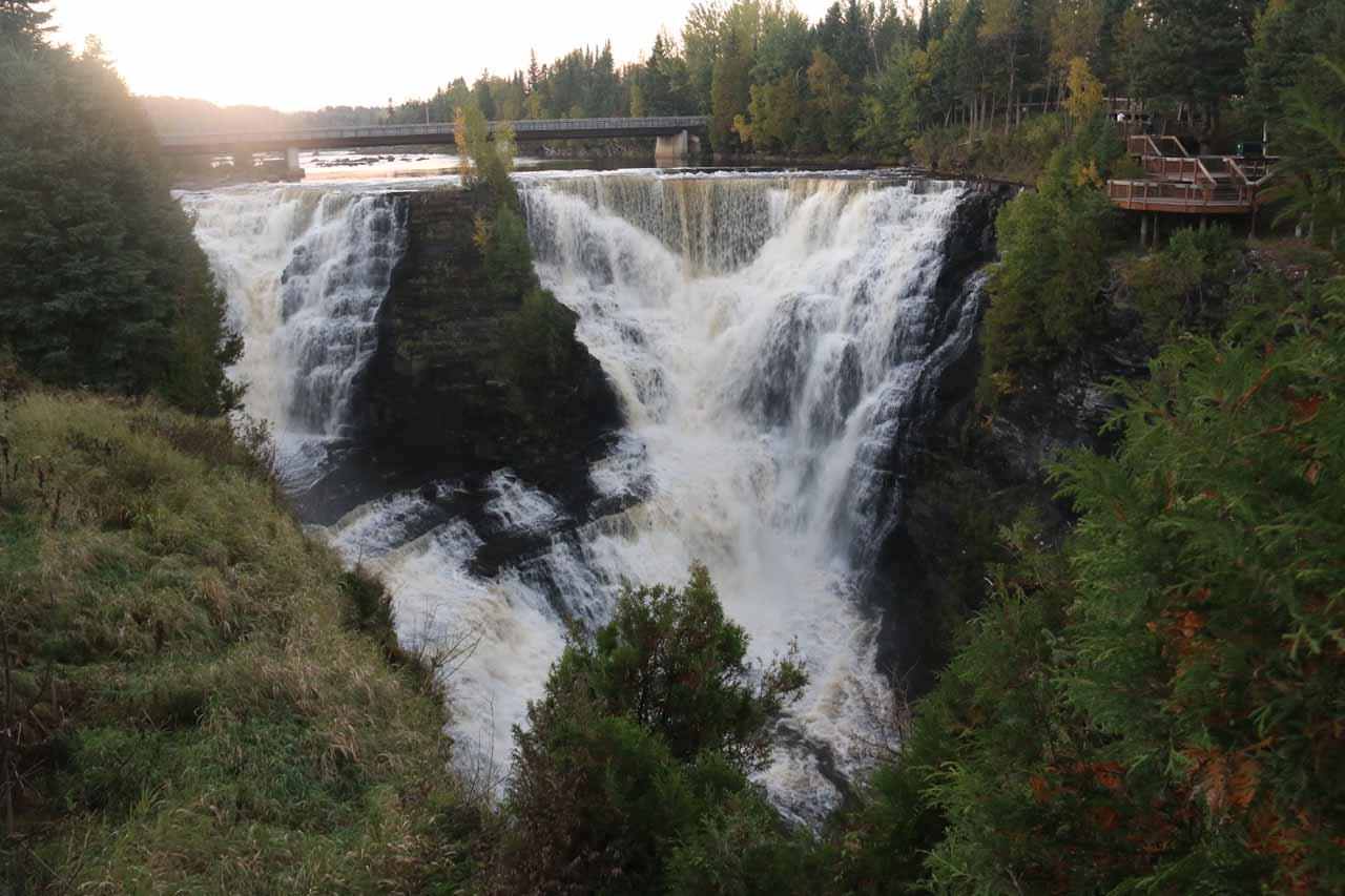View of Kakabeka Falls from the visitor center side