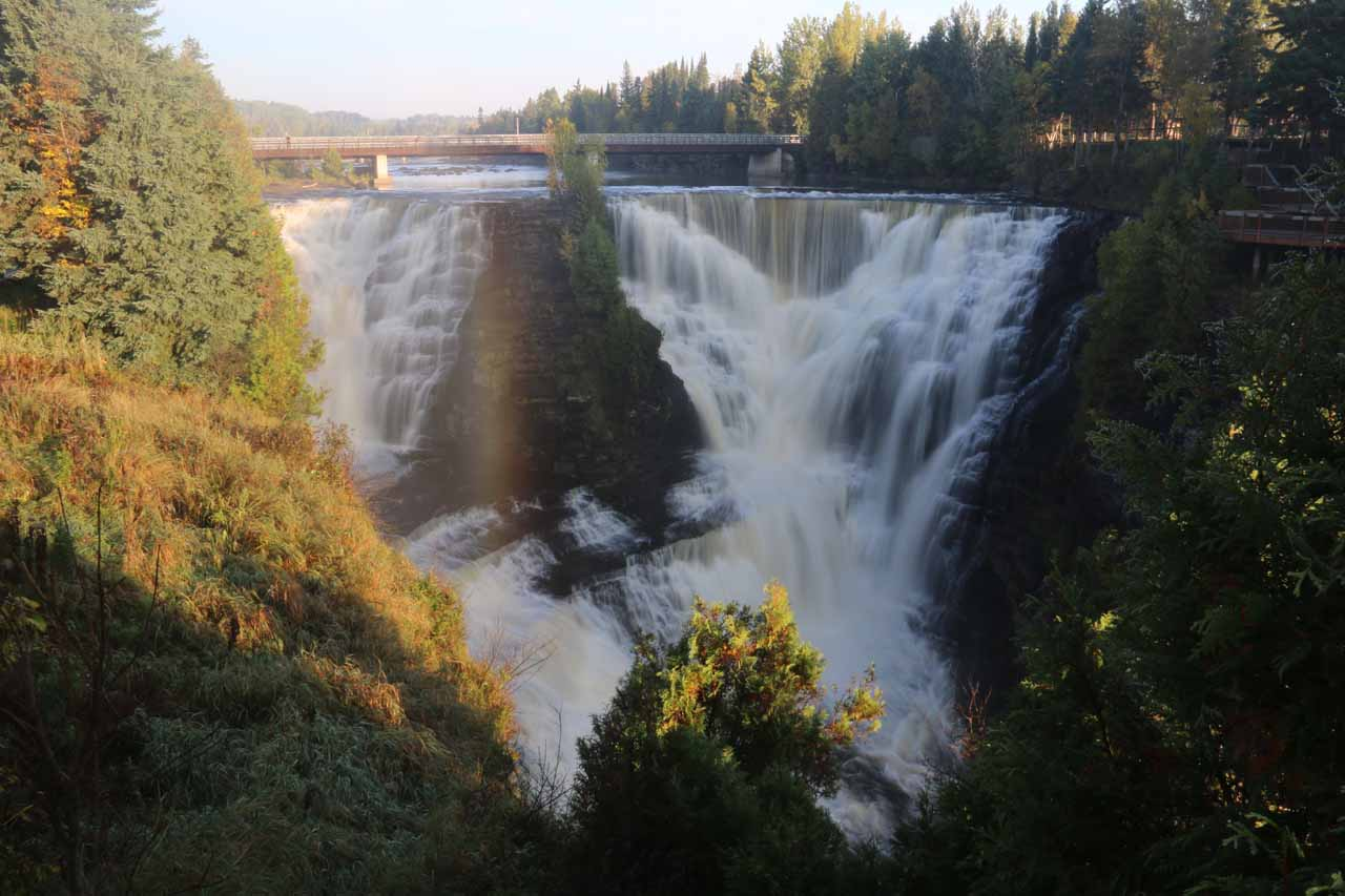 Our first look at Kakabeka Falls again, but this time with a vertical rainbow showing up