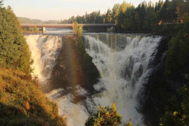 Kakabeka_Falls_067_09272015 - Nearly vertical arc of a rainbow fronting the Kakabeka Falls in the early morning