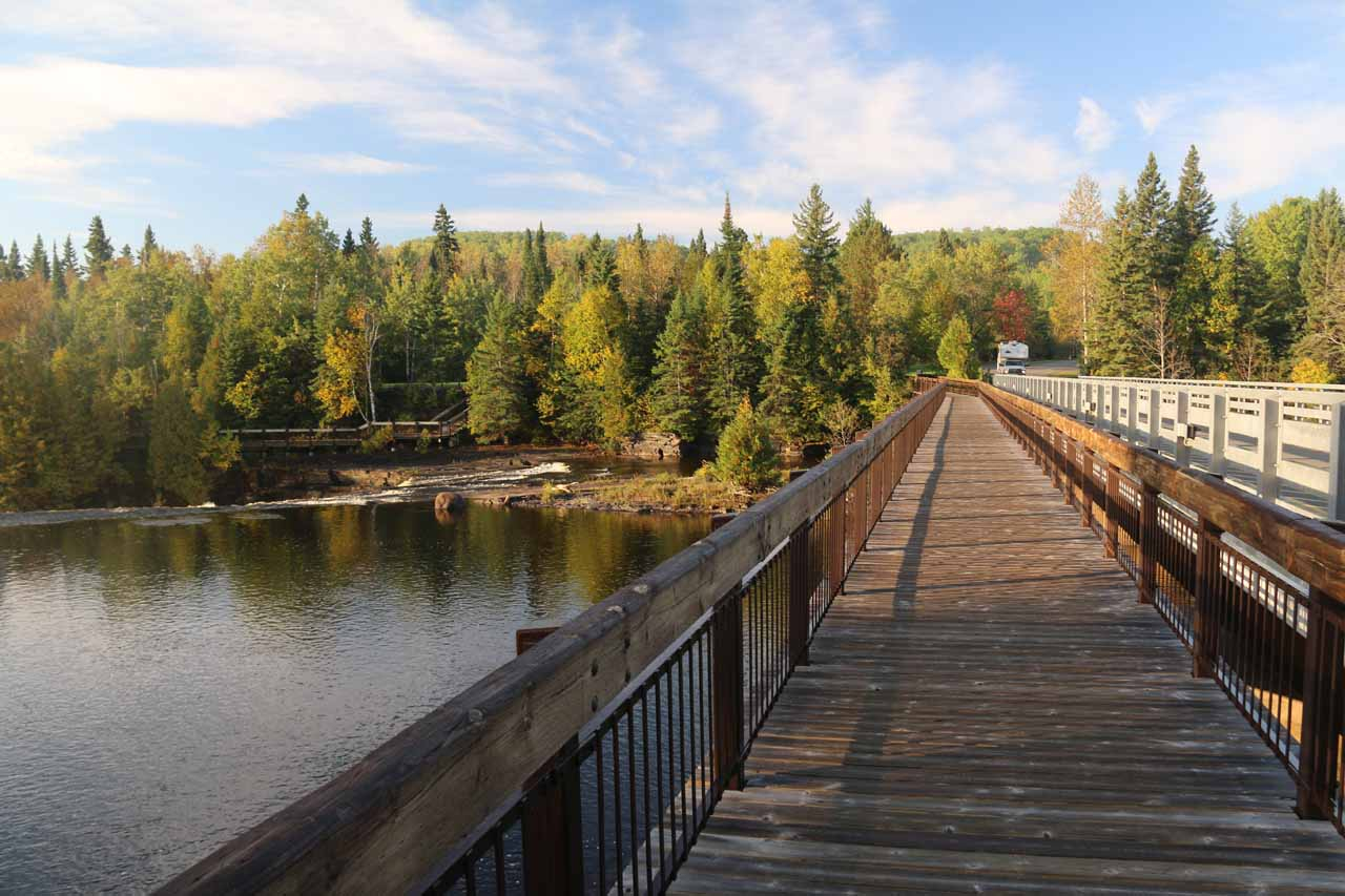 Looking back at the bridge crossing over the river responsible for Kakabeka Falls