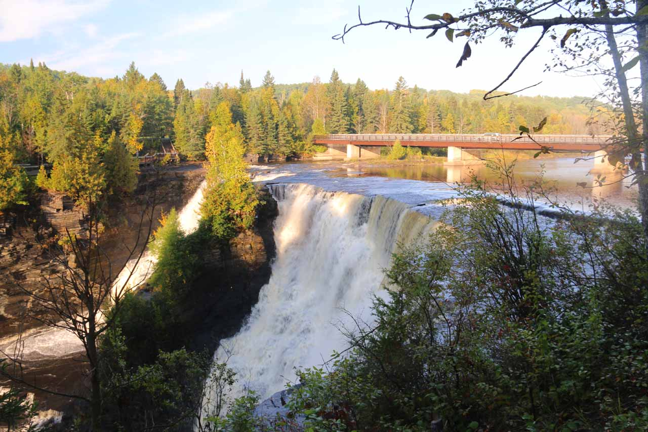Angled look at Kakabeka Falls from the main lookout with some partial morning shadows