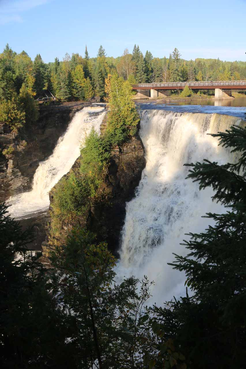 Angled view of Kakabeka Falls seen while descending towards the main lookout deck on the main car park side