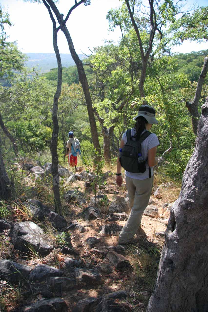 Descending towards the rock ledges below to finally view Kalambo Falls