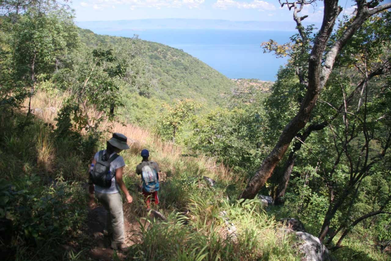 Looking back towards Lake Tanganyika, which gives you a perspective of how far up we had climbed as the village we came from was right besides the lake