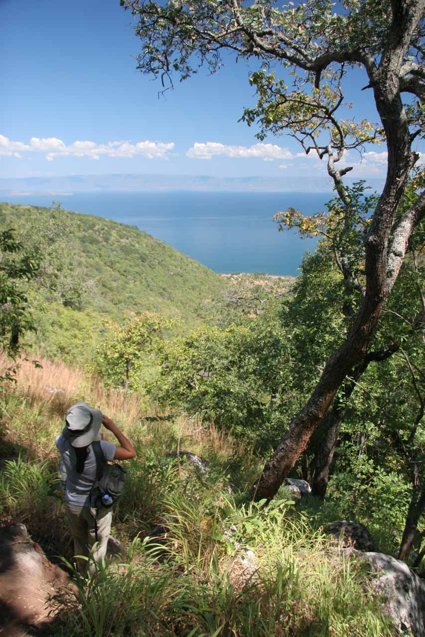 Always looking ahead at Lake Tanganyika as we made the steep descent