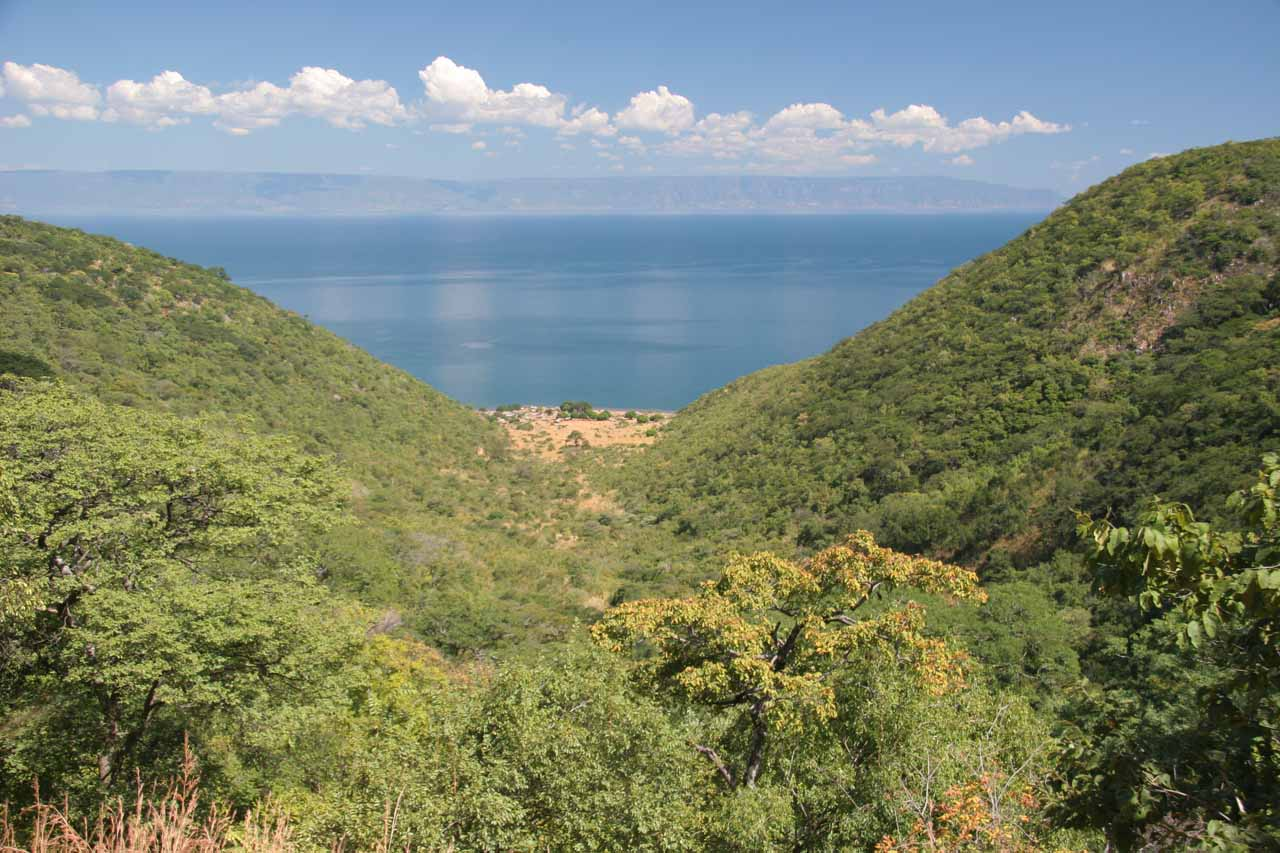 View of Lake Tanganyika at the height of the day.  Notice the patch of clearing on the shore of the lake?  That was the village where we started the hike from
