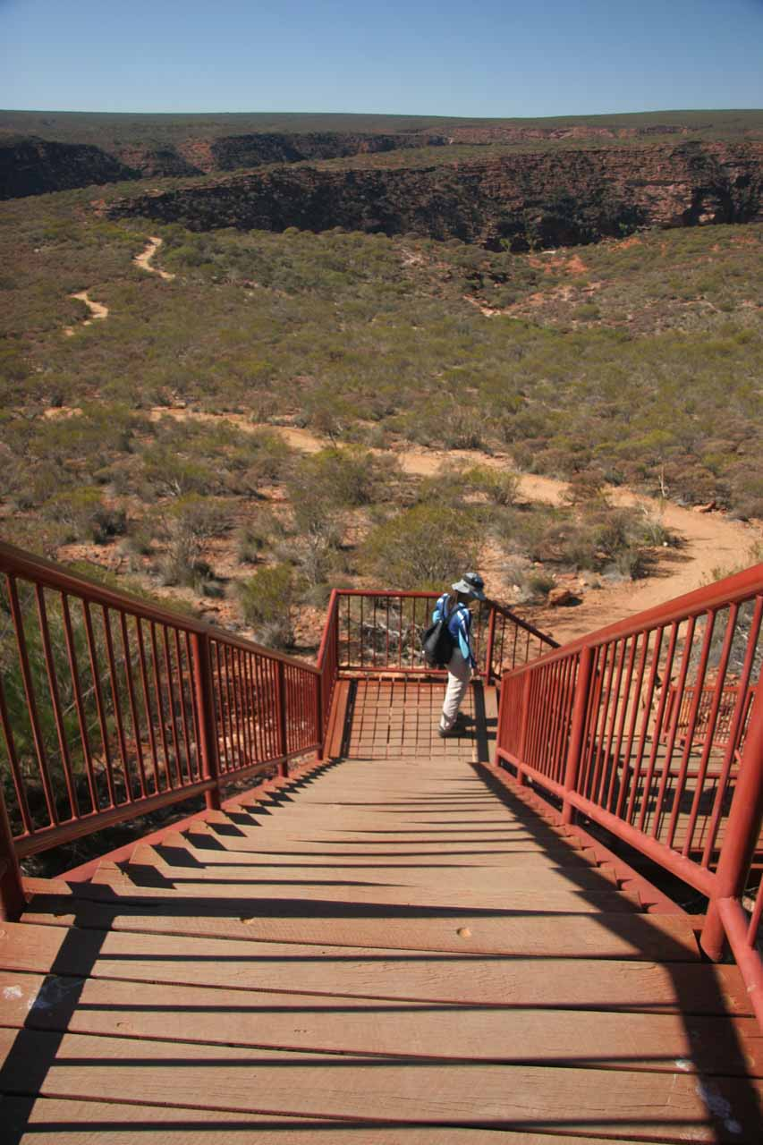 Julie descending the trail to Nature's Window