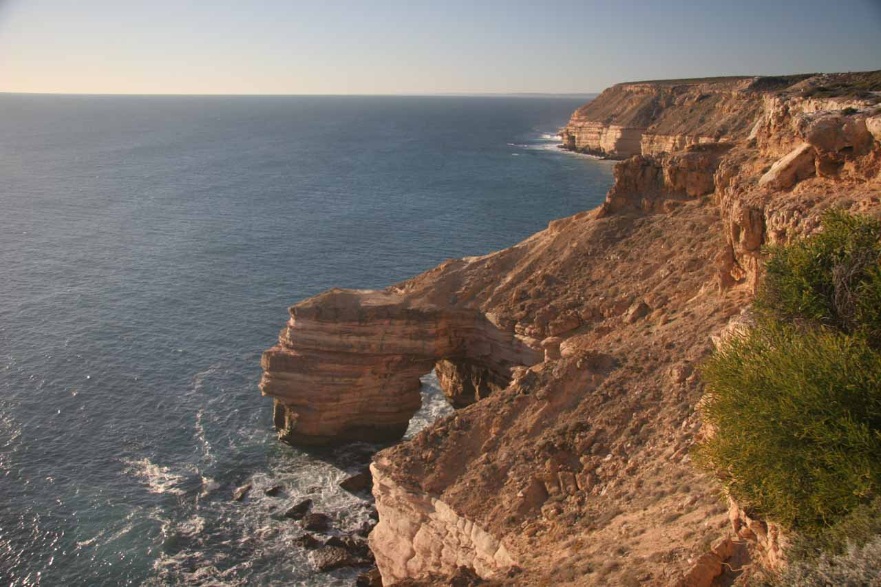 Also a few hours drive to the south of Ningaloo Reef and Coral Bay was Kalbarri National Park with its intriguing red rock gorges, natural arches, and sea cliffs
