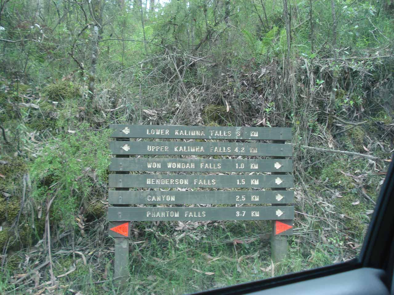 Signpost at the trailhead near the Sheoak Picnic Area