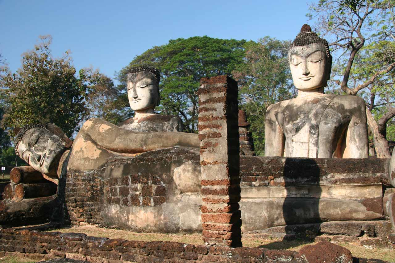 Another look at the trio of Buddhas at Kamphaeng Phet