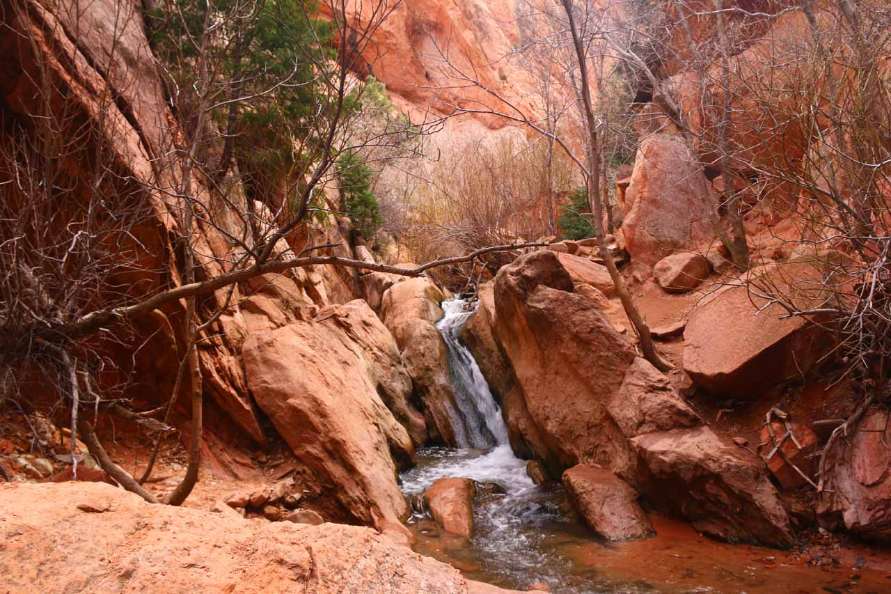 Another look at the attractive chute waterfall obstacle on Kanarra Creek