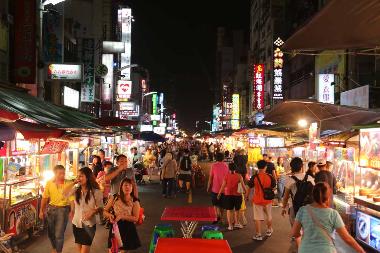 The night before our visit to Qingrengu Waterfall, we sampled the food at the Liuhe Night Market in the heart of Kaohsiung