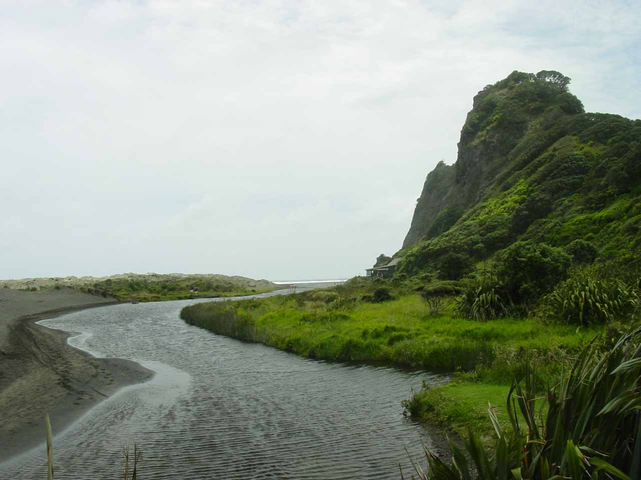 After hiking to Karekare Falls, I made a brief walk towards the quiet Karekare Beach following this stream