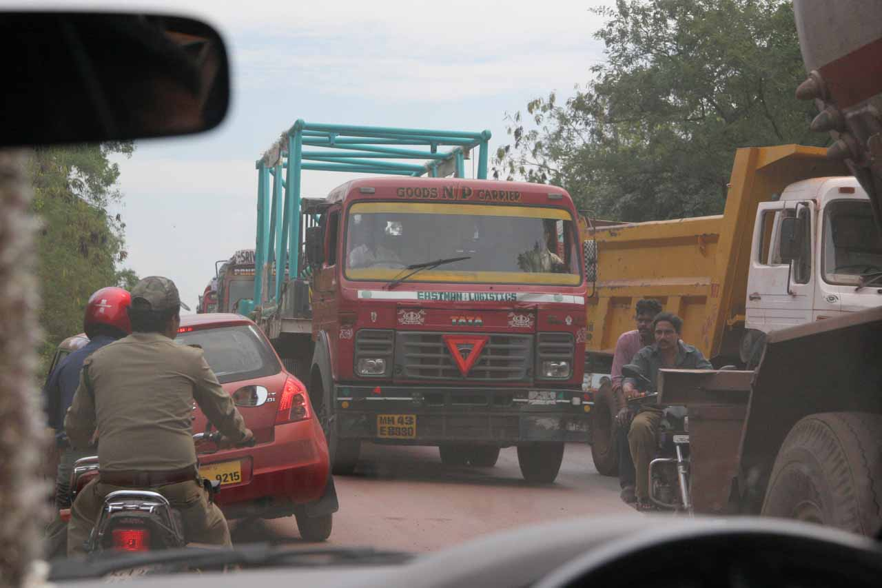 Caught in a traffic jam amidst a long line of coal trucks near the Goa/Karnataka state borders