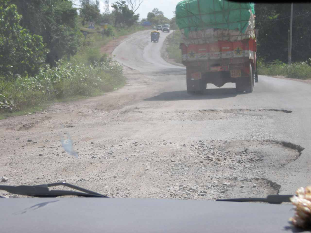 More beat up roads on the road from Mangalore to Murudeshwar