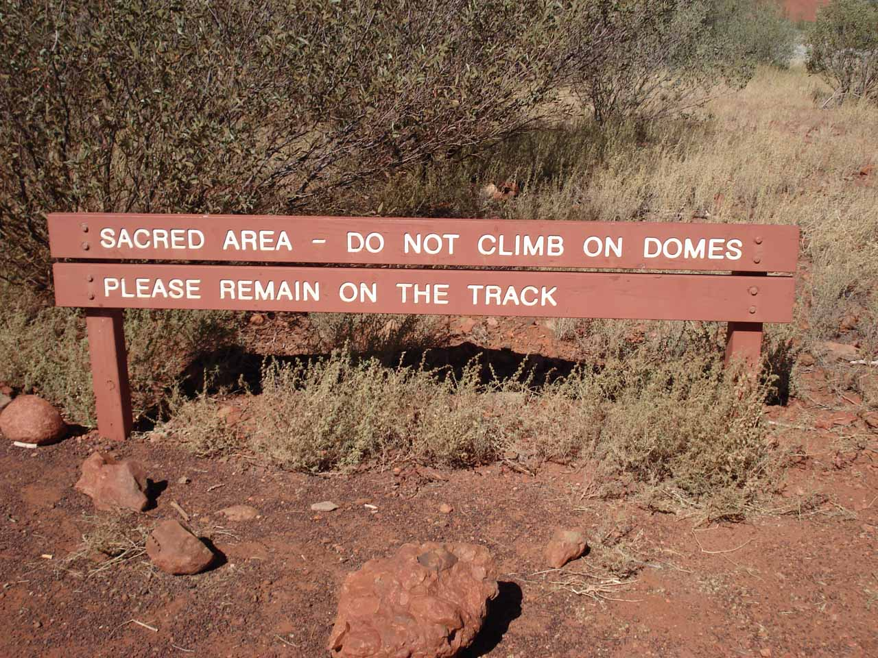 Sign telling us to leave the domes alone