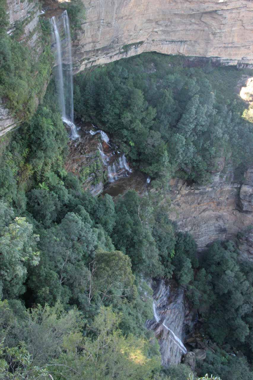 Looking right down at Katoomba Falls from the lookout on a clear day in May 2008
