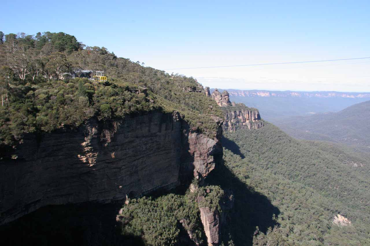 Looking out towards the Three Sisters and the SkyWay from the Katoomba Falls Lookout